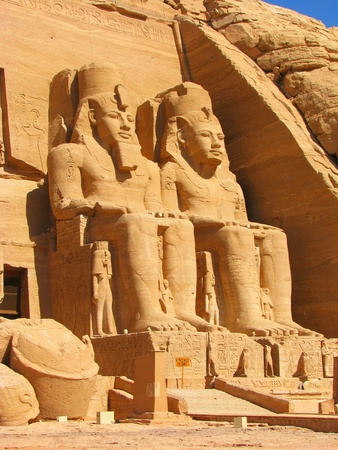 Front view of Temple of King Ramses II in Abu Simbel, Egypt photo