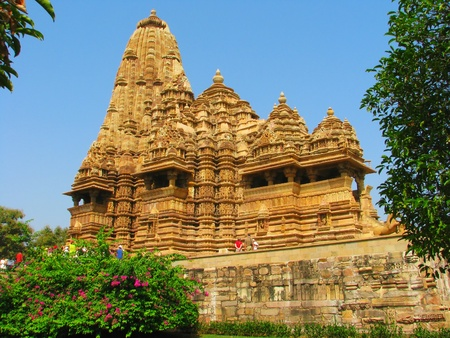 Stone carved temple with erotic sculptures in Khajuraho, Madhya Pradesh, India Stock Photo - 13085974