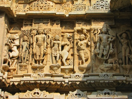 Stone carved erotic sculptures in Hindu temple in Udaipur, India Stock Photo - 13085889