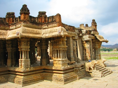 tantric: Stone carved hindu temple in Hampi, India