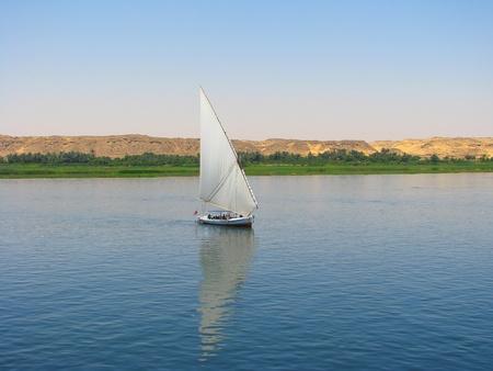 nile: Faluca boat sailing in Nile river, Egypt