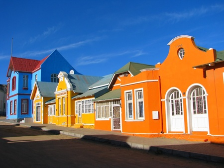 luderitz: Multicoloured houses in Nachtigal Strasse, Luderitz, Namibia
