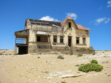 Ruins of house in ghost town Kolmasnkop, Namibia photo