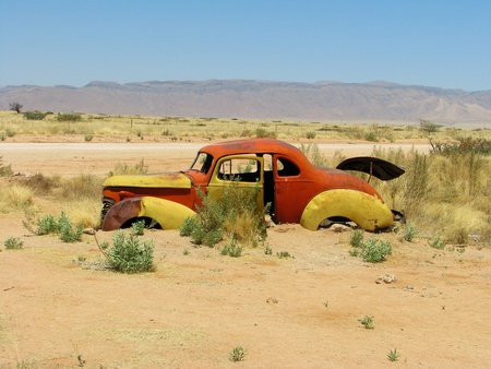 namibia: Old car wreck on Namibian desert, Solitaire, Namibia