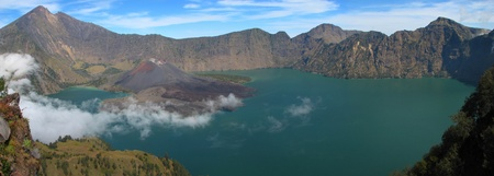 crater lake: Panorama of Rinjani volcano, Lombok island, Indonesia Stock Photo