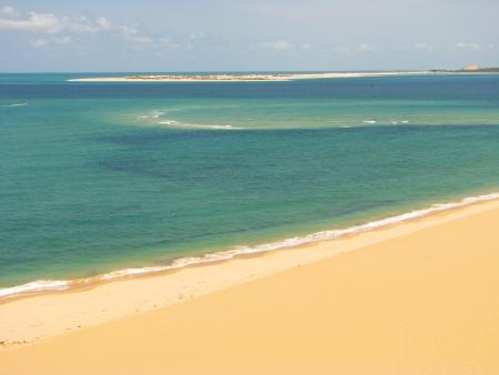 Sand beach and blue lagoon on Bazaruto Island, Mozambique