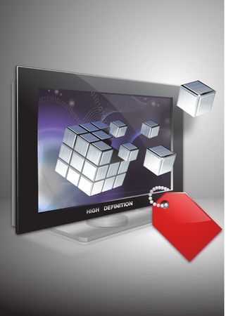 lable: Crash cube get out from tv set with lable Stock Photo