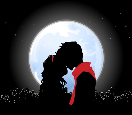 Kiss and full moon Stock Photo - 4238412
