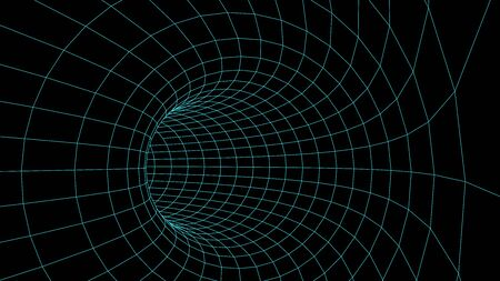Wireframe abstract tunnel. 3D vector wormhole with a mesh structure.