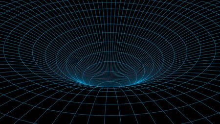 Wireframe abstract tunnel. 3D vector wormhole with a mesh structure. Çizim