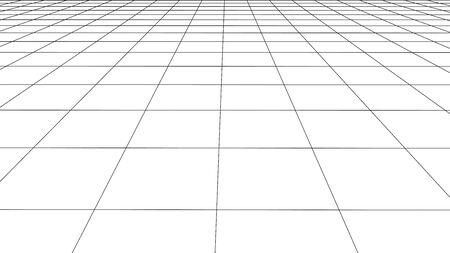 Vector perspective grid. Detailed lines on white background. Ilustração Vetorial