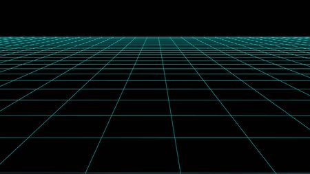 Vector perspective grid. Detailed lines on black background.