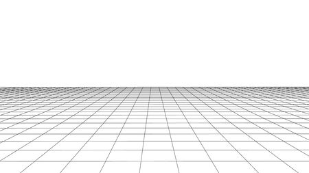 Vector perspective grid. Detailed lines on white background. Vetores