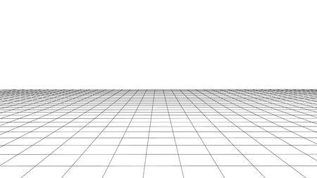 Vektorperspektivenraster. Detaillierte Linien auf weißem Hintergrund. Vektorgrafik