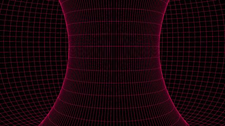 Wireframe abstract tunnel. 3D vector wormhole with a mesh structure. Ilustración de vector