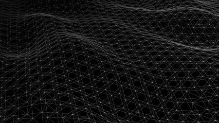 Vector perspective grid. Lines on wblack background.