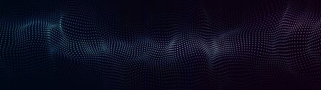 Abstract dynamic wave of particles. Network of bright points or dots. Big data. Digital background.