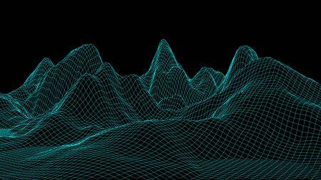 Vector wireframe 3d landscape. Technology grid illustration.