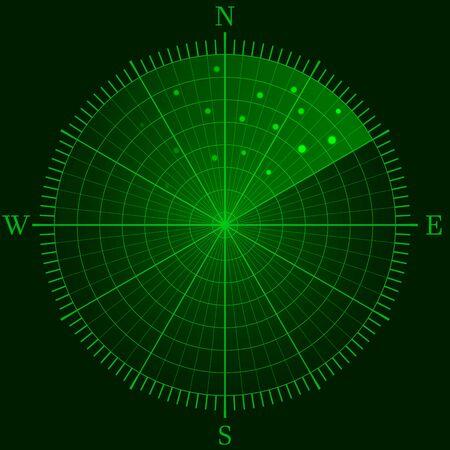 Green radar. Marine or military radiolocating display. Navy sonar. Detection screen. Futuristic HUD interface. Navigation interface. Vector illustration. Vektorgrafik