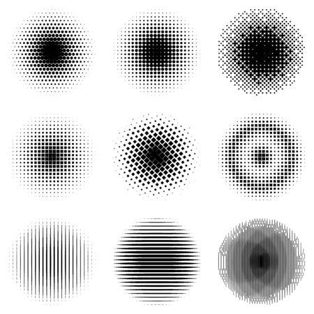 Set of simple halftones. Black gradient circles of dots, lines and squares. Vector illustration. Vecteurs