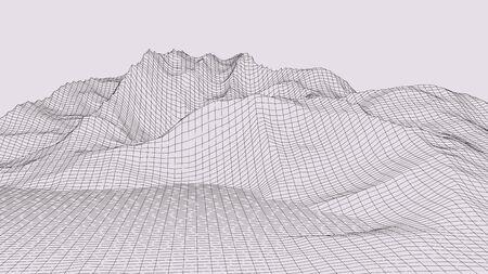 Vector wireframe 3d landscape. Technology grid illustration. 向量圖像