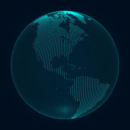 Planet Earth. World wide web. World map. 3D vector illustration.