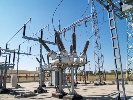 switchgear: High voltage electrical substation      Stock Photo