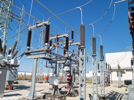 electricity substation: High voltage electrical substation    Stock Photo