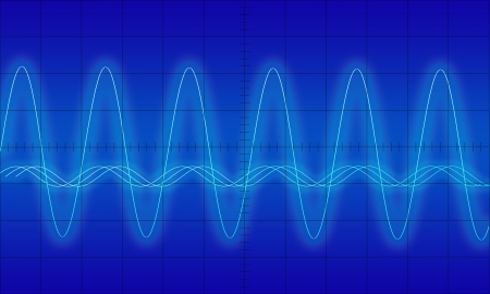 vibration: Sine waves measuring display Stock Photo