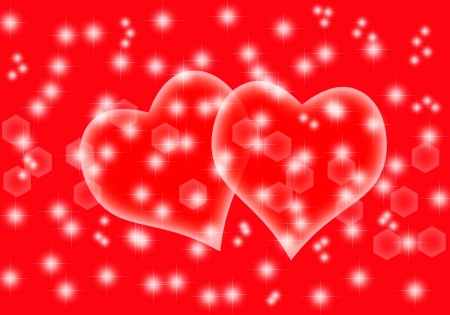 Card with hearts and red background photo