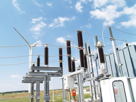 High voltage electrical substation in wind power plant photo