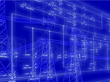 substation: Engineering scheme of connection of  automation equipment Stock Photo