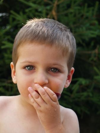cheerfull: Baby eat peach in garden