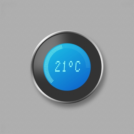 digital thermometer: Hand adjusting thermostat Stock Photo