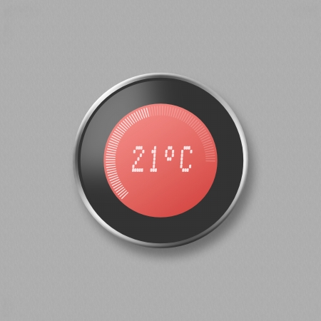 celsius: Hand adjusting thermostat Stock Photo