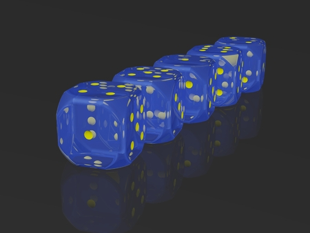odds: A row of dices on reflective surface