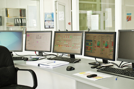 computer control: Control center of a small power plant Stock Photo
