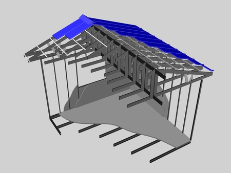 house construction: 3d image of house with metallic construction