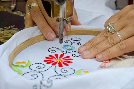 broderie: machine à broder Textile Banque d'images