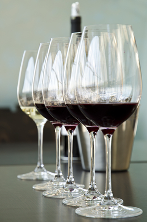 Red and white wine Glasses for wine tasting Stock Photo