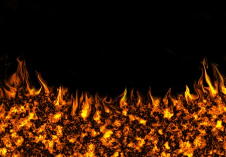 Abstract fire on a black background photo