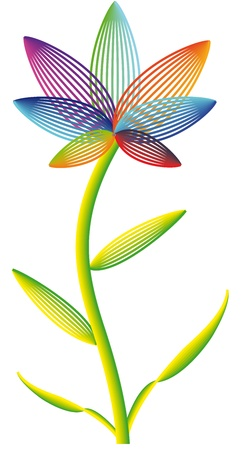 Vector iridescent flower on a white background