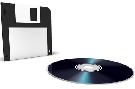 Diskette and disk on a white background photo