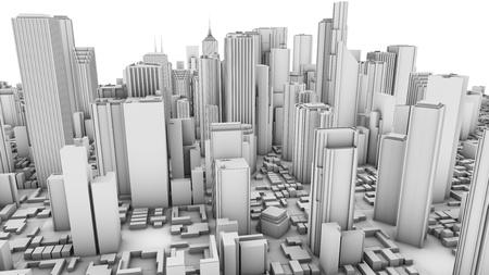 Black-and-white city Stock Photo