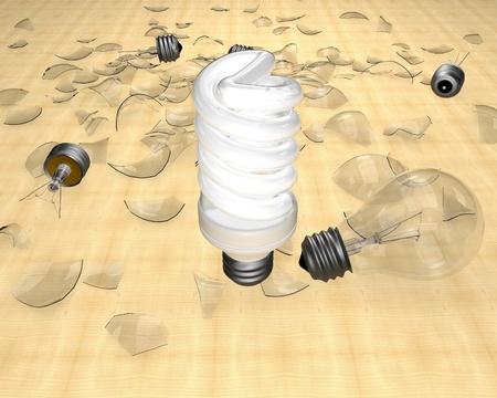 new generation: Power saving up lamp - new generation of lamps Stock Photo