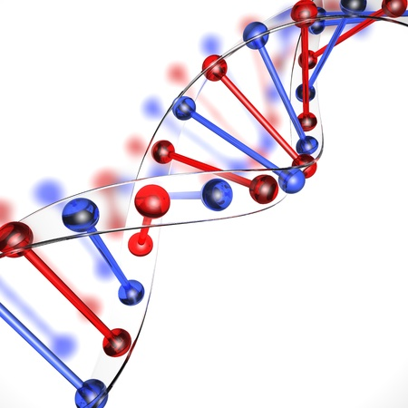 DNA structure on a white background made of glass photo