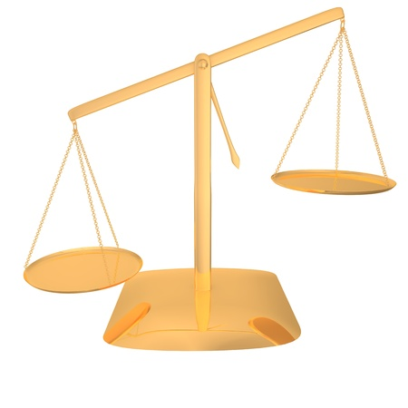 Gold scales on a white background photo