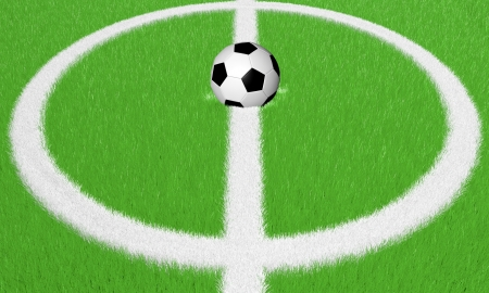 Illustration of a football ground with a ball lying in the centre illustration