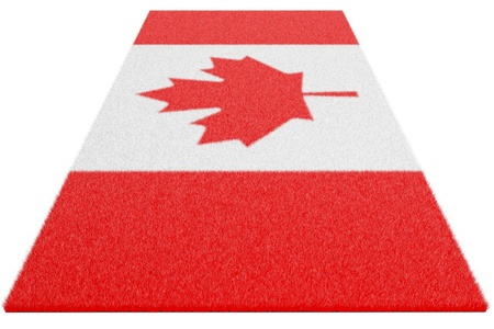woollen: Woollen rug, oriental carpet with the image of a flag of Canada