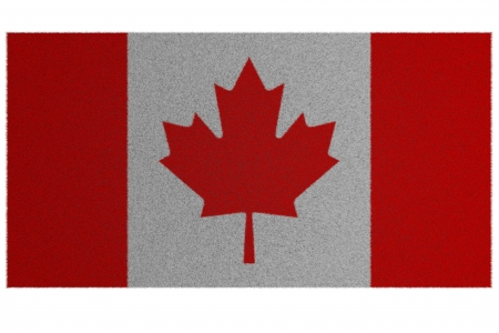 oriental rug: Woollen rug, oriental carpet with the image of a flag of Canada